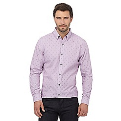 Jeff Banks - Big and tall lilac square jacquard regular fit shirt