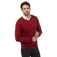 Jeff Banks - Big and tall red V neck jumper with silk and cashmere