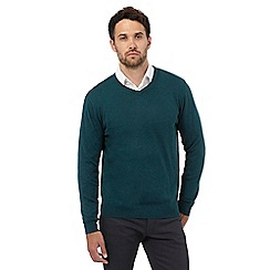 Jeff Banks - Green V neck jumper with silk and cashmere