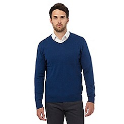 Jeff Banks - Big and tall blue V neck jumper with silk and cashmere