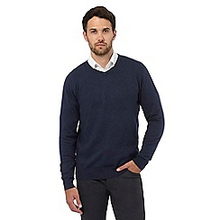 Jeff Banks - Big and tall dark blue V neck jumper with silk and cashmere