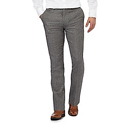 Jeff Banks - Big and tall grey textured wool blend trousers