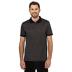 Jeff Banks - Dark grey embroidered logo polo shirt