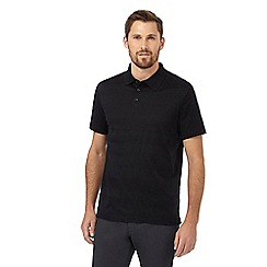 Jeff Banks - Big and tall black textured striped polo shirt
