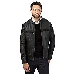 Jeff Banks - Big and tall black leather jacket