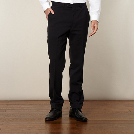 Jeff Banks - Big and tall designer navy pinstriped slim trousers