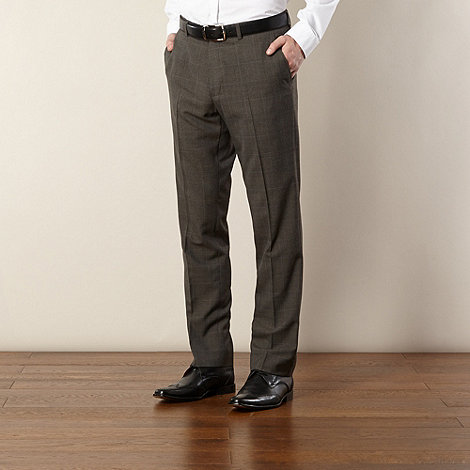 Jeff Banks - Big and tall designer brown checked trousers