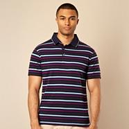 Designer plum bold striped polo shirt