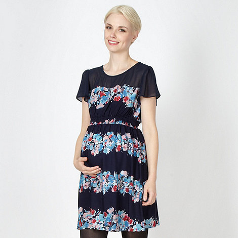 Red Herring Maternity - Navy floral striped maternity dress