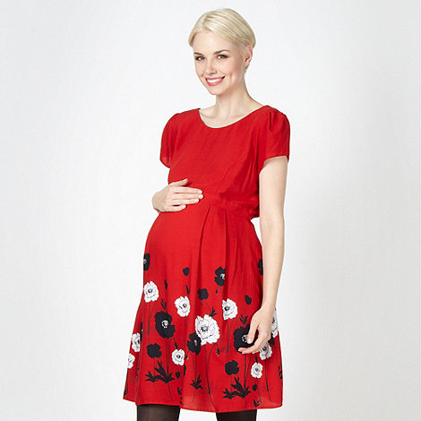 Red Herring Maternity - Red floral border maternity dress