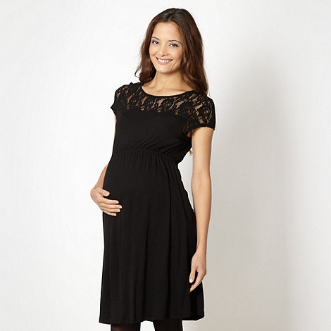 Red Herring Maternity - Black lace insert jersey maternity tunic dress