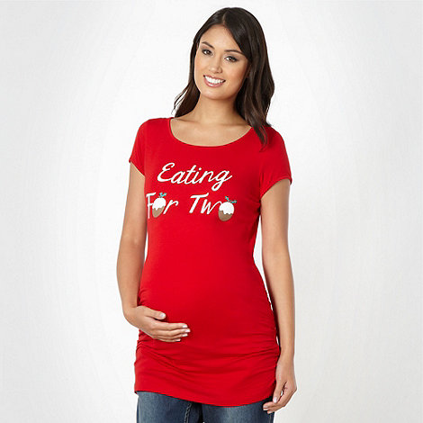 Red Herring Maternity - Red +Eating For Two+ maternity t-shirt