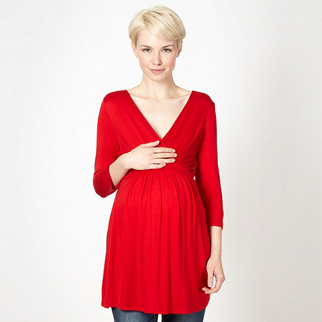 Red Herring Maternity - Red jersey wrap maternity top