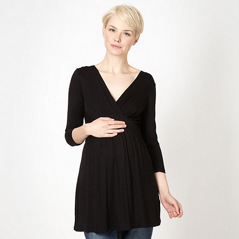 Red Herring Maternity - Black jersey wrap maternity top