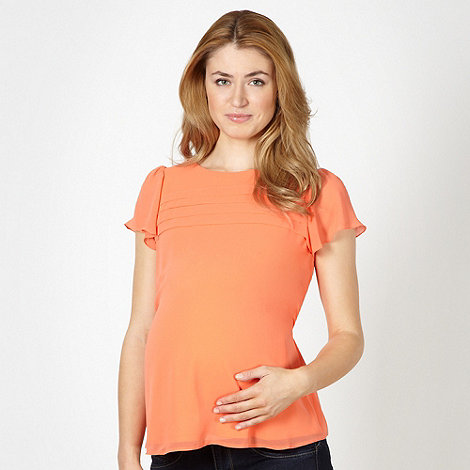 Red Herring Maternity - Orange chiffon pintuck maternity top