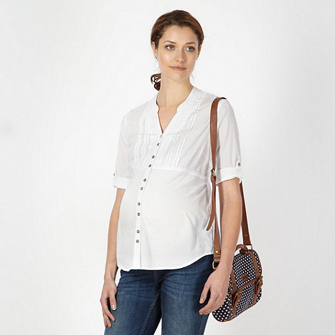 Mantaray Maternity - White maternity embroidered blouse