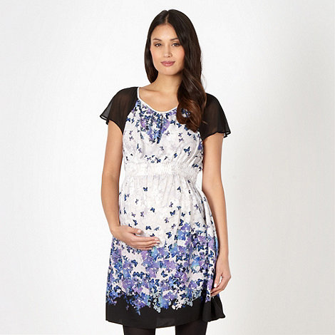 Red Herring Maternity - Maternity grey butterfly tea dress