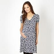 Navy butterfly jersey maternity tea dress