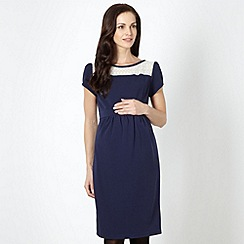 Red Herring Maternity - Navy lace textured maternity dress