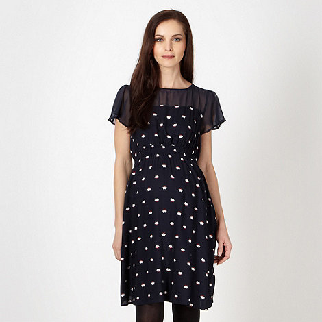 Red Herring Maternity - Navy cat patterned chiffon maternity dress