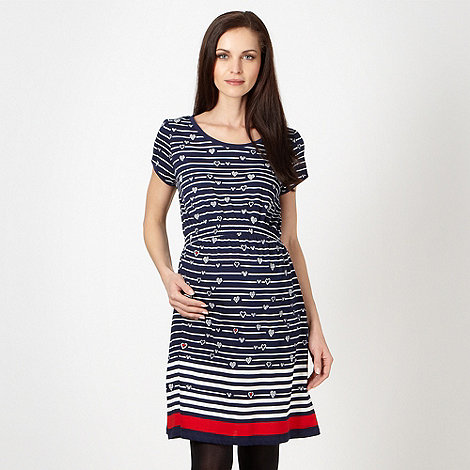 Red Herring Maternity - Navy striped heart maternity dress