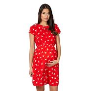 Red swallow maternity dress