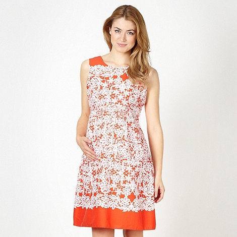Red Herring Maternity - Orange floral pattern full skirt maternity dress