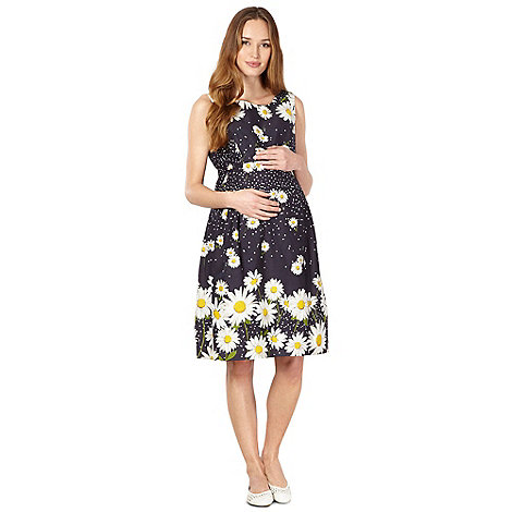 Red Herring Maternity - Navy daisy maternity prom dress