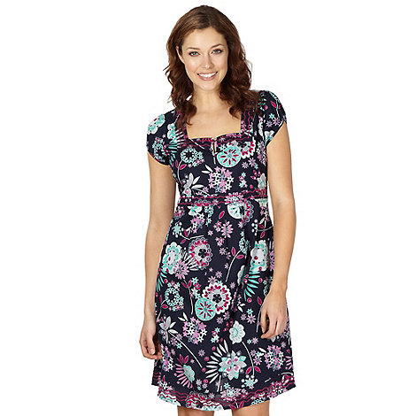 Mantaray Maternity - Navy floral square neck dress