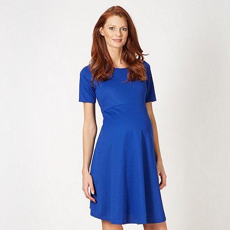 Red Herring Maternity - Royal blue textured skater maternity dress