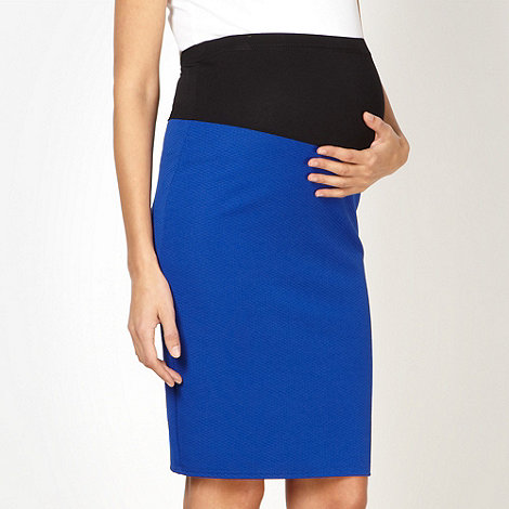 Red Herring Maternity - Royal blue textured maternity pencil skirt