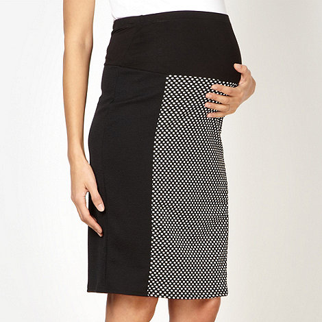 Red Herring Maternity - Black spot textured maternity skirt