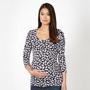 Navy butterfly patterned jersey maternity top