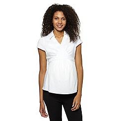 Red Herring Maternity - White short sleeved wrap maternity shirt