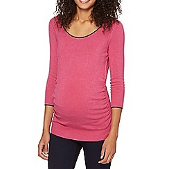 Red Herring Maternity - Pink cable detail scoop neck maternity jumper