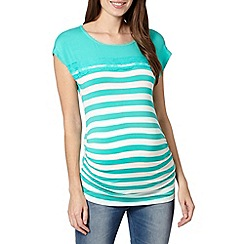 Red Herring - Aqua lace striped maternity top