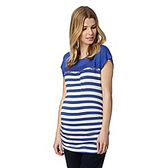 Red Herring Maternity - Blue striped lace insert maternity t-shirt
