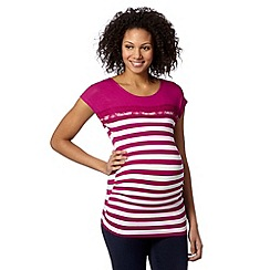 Red Herring Maternity - Dark pink stripe lace maternity t-shirt
