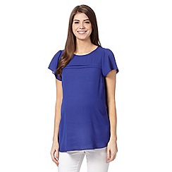 Red Herring Maternity - Blue pintuck self tie waist maternity blouse