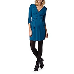 Red Herring Maternity - Turquoise tie back wrap jersey maternity dress
