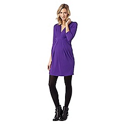 Red Herring Maternity - Purple tie back wrap jersey maternity dress