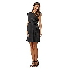 Red Herring Maternity - Black pleat spotted maternity dress