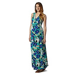 Red Herring Maternity - Aqua floral wrap over maternity maxi dress