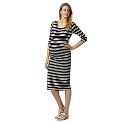 Red Herring Maternity - Black striped bodycon maternity dress