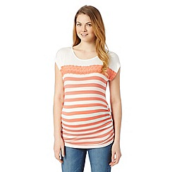 Red Herring Maternity - Peach striped lace insert maternity top