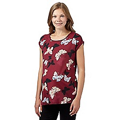 Red Herring Maternity - Plum woven butterfly panel maternity top