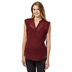 Red Herring Maternity - Dark red textured maternity blouse