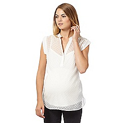 Red Herring Maternity - Ivory textured maternity blouse