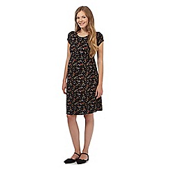 Red Herring Maternity - Black floral gathered waist maternity dress
