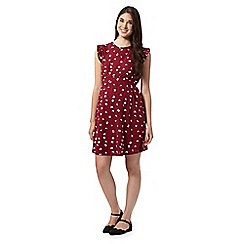 Red Herring Maternity - Wine butterfly print pleated sleeve maternity dress